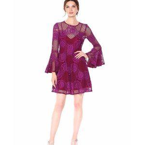 Donna Morgan Three-Quarter Bell Sleeve Lace Dress